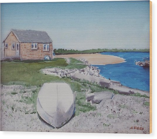 Cottage On The Marsh Wood Print by Anthony Ross