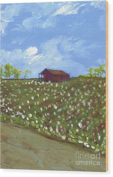 Cotton Field Two Wood Print