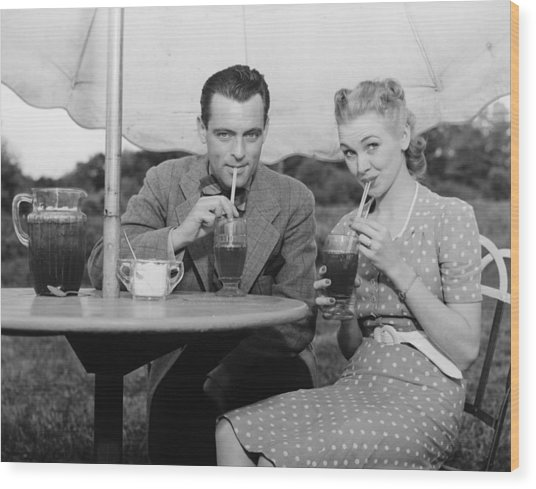 Couple Having Ice Tea Outdoors, (b&w), Portrait Wood Print by George Marks
