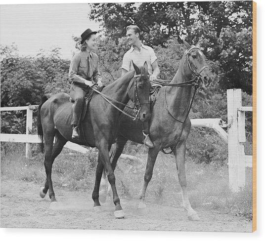 Couple Horseback Riding Wood Print by George Marks