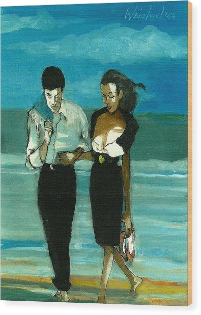 Couple On Beach In Black  3d Wood Print by Harry WEISBURD