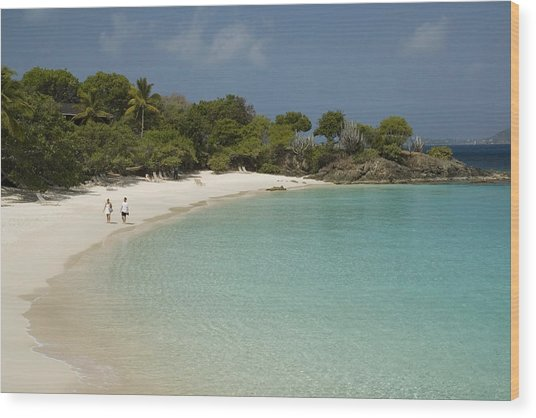 Couple On Beach In Caneel Bay Resort, Turtle Bay Wood Print by Margie Politzer