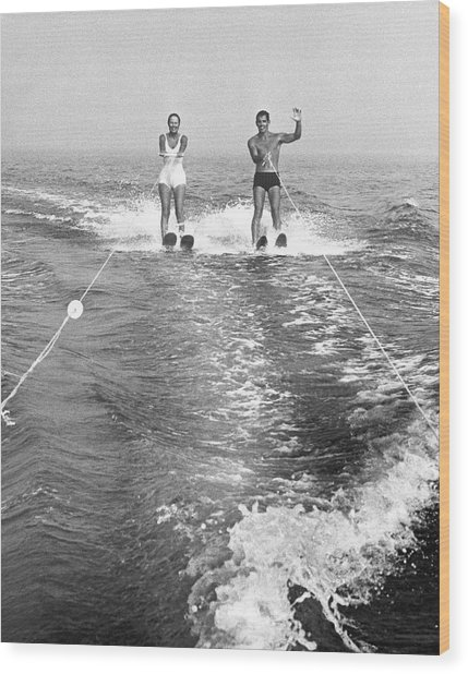 Couple Water Skiing Wood Print by George Marks