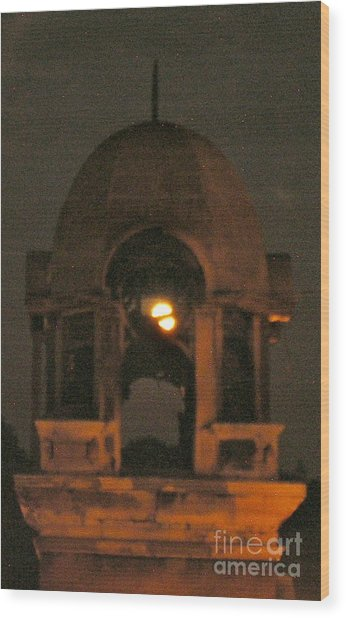 Courthouse Tower In Full Moon Wood Print by Tina Ann Byers