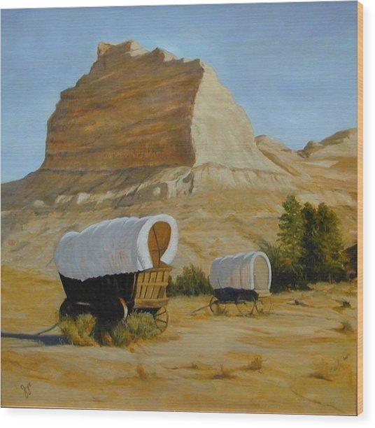 Covered Wagons Wood Print