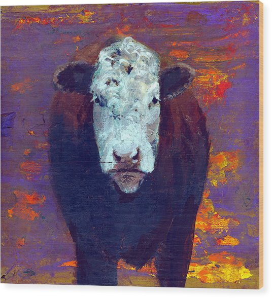 Cow Wood Print by Eric Atkisson