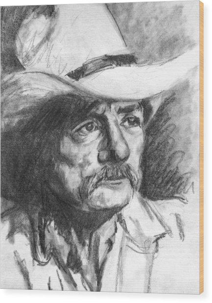 Cowboy In Hat Sketch Wood Print