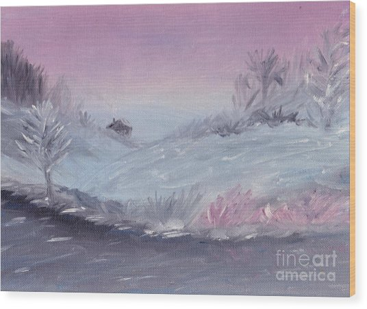 Cozy Winter Twilight Wood Print