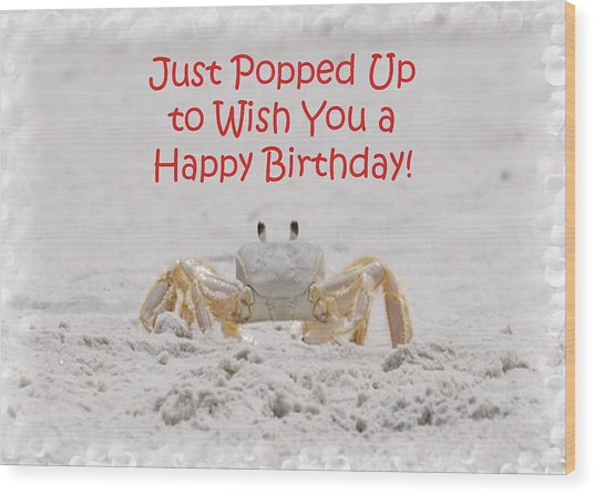 Crab Happy Birthday Wood Print