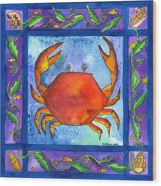Crab Wood Print by Pamela  Corwin