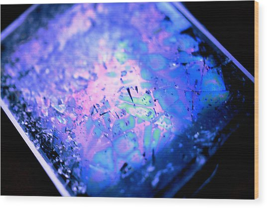 Cracked Cellphone Wood Print by Will Czarnik