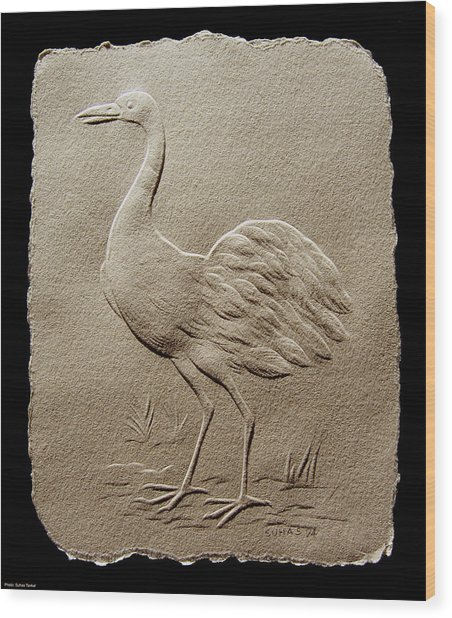 Crane Bird Wood Print