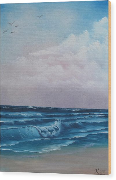 Crashing Wave Wood Print by Kevin Hill