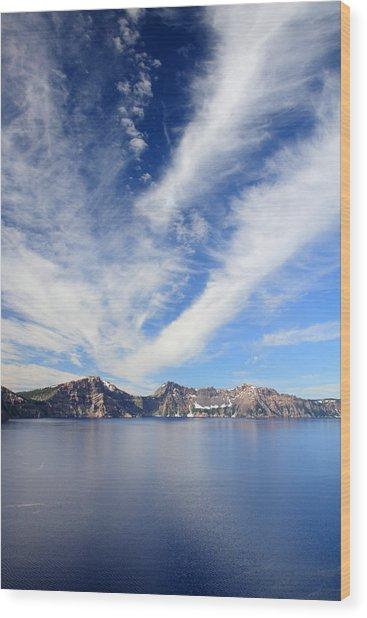 Crater Lake Sky Wood Print by Pierre Leclerc Photography