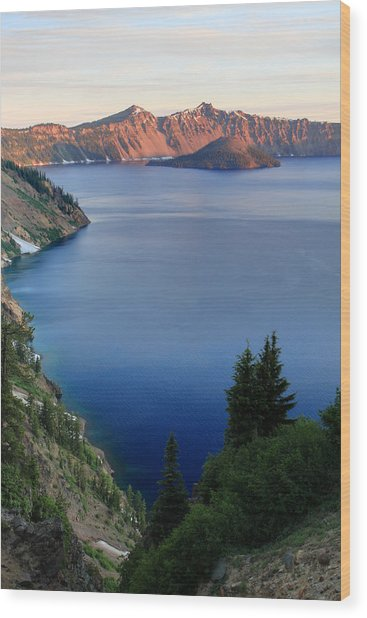 Crater Lake Sunrise Wood Print by Pierre Leclerc Photography