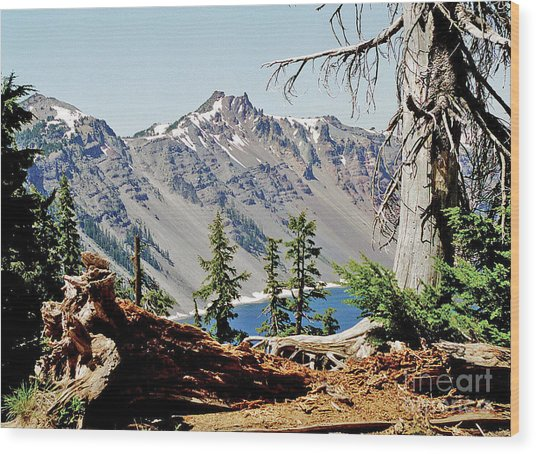 Crater Lake Through Nature Wood Print by Mike Stone