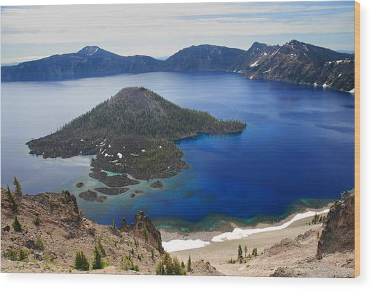Crater Lake Wizard Island Wood Print by Pierre Leclerc Photography