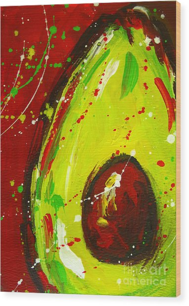 Crazy Avocado 3 - Modern Art Wood Print