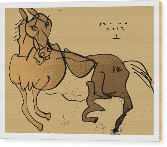 Crazy Horse Wood Print by Peter Szabo