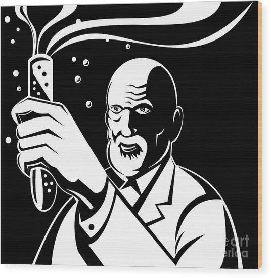 Crazy Mad Scientist Test Tube Wood Print by Aloysius Patrimonio