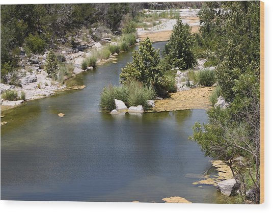 Creek In Marble Falls Wood Print by Linda Phelps