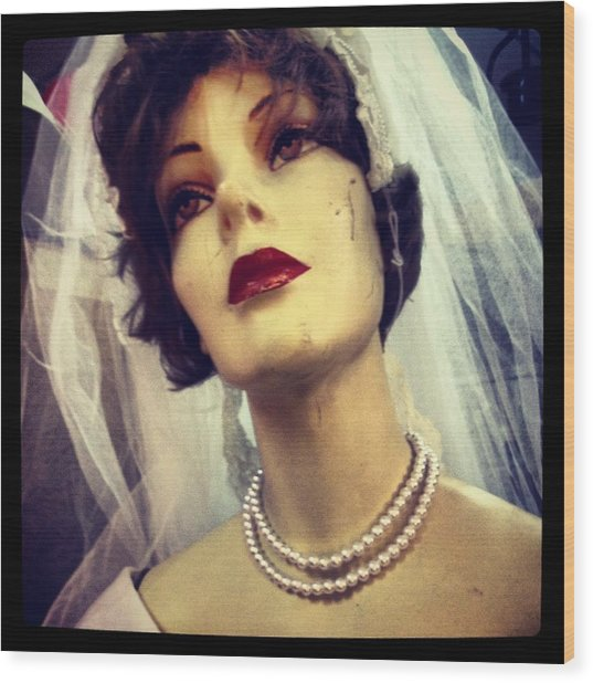 Creepy Vintage Bride Wood Print