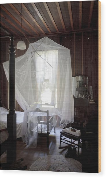 Crib With Mosquito Netting In A Florida Cracker Farmhouse Wood Print