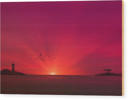 Crimson Sunset Wood Print by Tom York Images