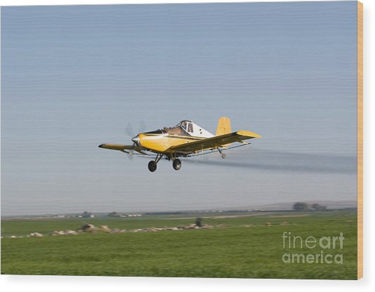 Crop Duster Flying Over Farm  Wood Print