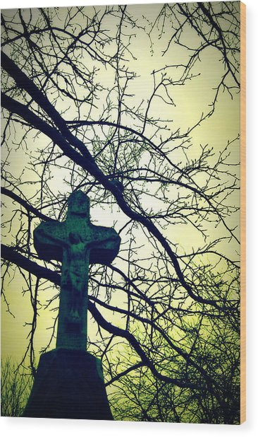 Cross In The Trees Wood Print