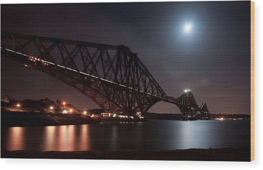 Crossing The Firth Under A Full Moon Wood Print