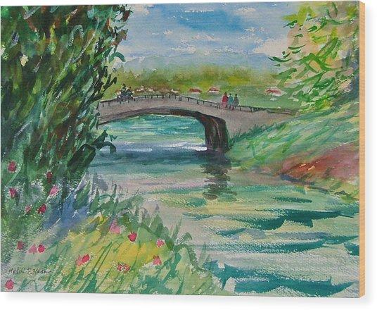 Crossing The River Wood Print