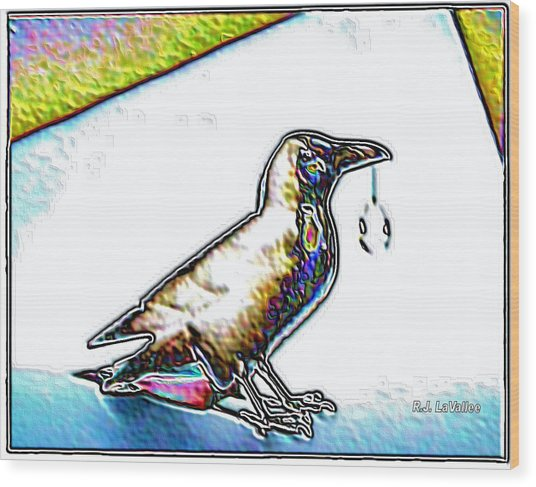 Crow With Crystal 4 Wood Print