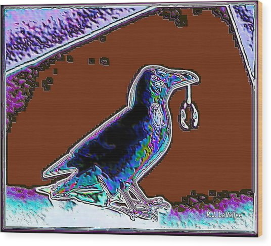 Crow With Crystal 5 Wood Print