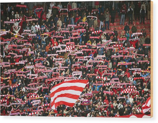 Crowd Of Fans Raise Scarves In Support Of Red Star, One Of Sebia's Premier Soccer Teams Wood Print by Greg Elms