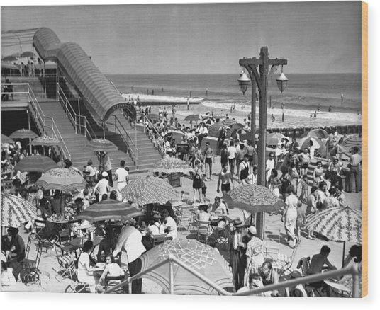 Crowded Beach, (b&w), Elevated View Wood Print by George Marks