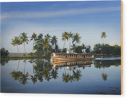 Cruise Boat Sailing Along Kerala's Backwaters Wood Print by Felix Hug