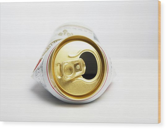 Crushed Beer Can Wood Print