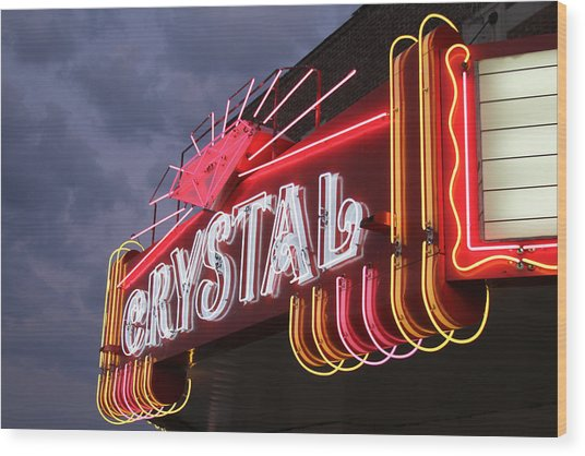 Crystal Theater Neon Wood Print