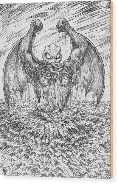 Cthulhu Rising Wood Print