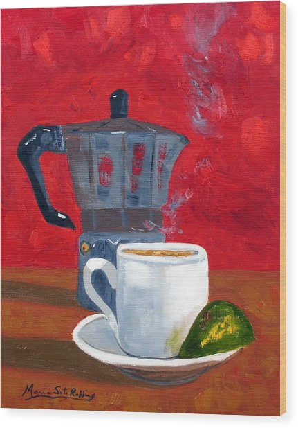Cuban Coffee And Lime Red 62012 Wood Print by Maria Soto Robbins