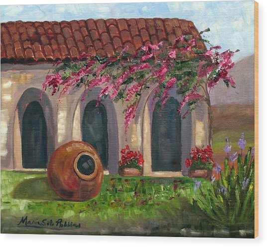 Cuban Courtyard With Tinajon And Bougainvillea Wood Print by Maria Soto Robbins