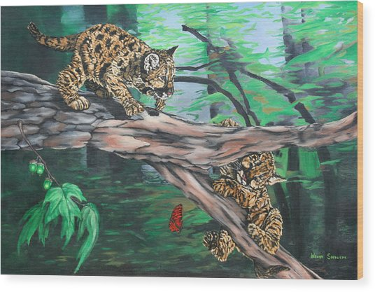 Cubs At Play Wood Print