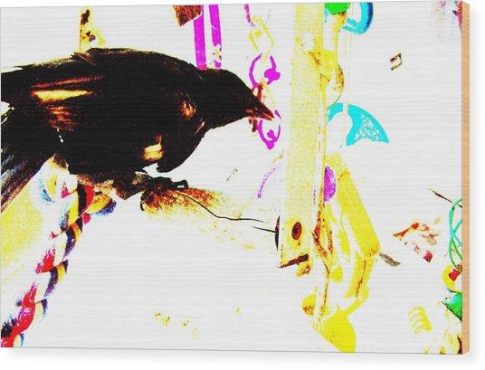 Curious Crow Wood Print