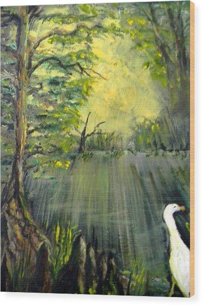 Cypress Morning Wood Print
