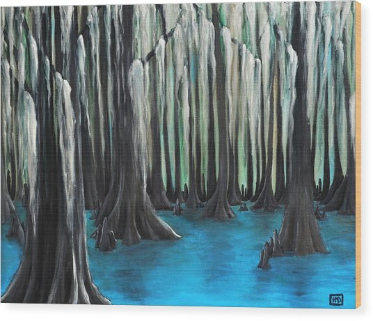 Cypress Spring Wood Print by Holly Donohoe