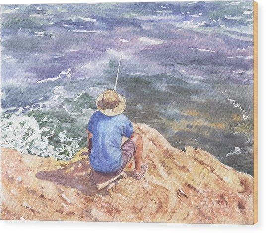 Cyprus Fisherman Wood Print by Maureen Carter