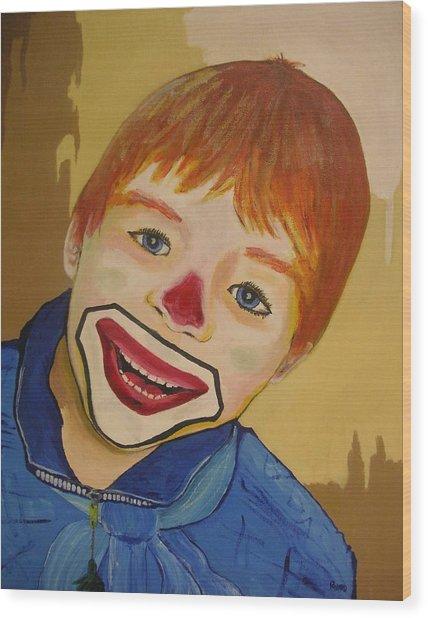 D Clown Wood Print