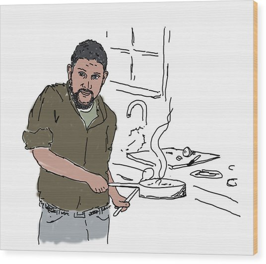 Wood Print featuring the drawing Dad Cooking by Daniel Reed