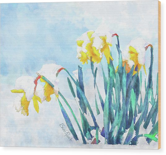 Daffodils With Bad Timing Wood Print by Suni Roveto